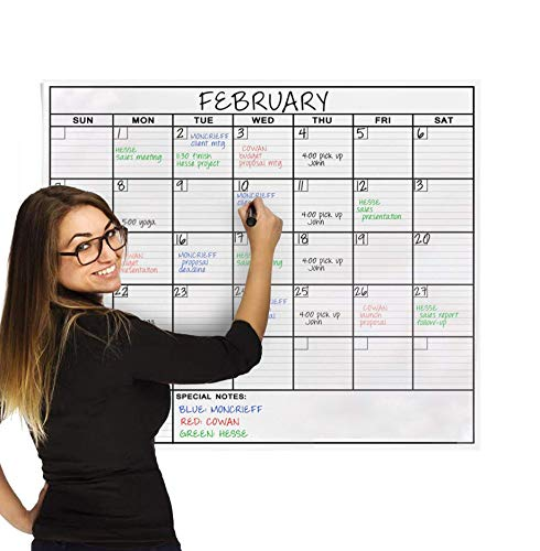 Jumbo Dry Erase Laminated Wall Calendar, Huge 36 Inch by 48 Inch Size, Monthly Planner for Home Office Classroom, Large Date Boxes, Reusable PET Film, Never Folded, 5 Markers, 8 Tacks, 1 Eraser