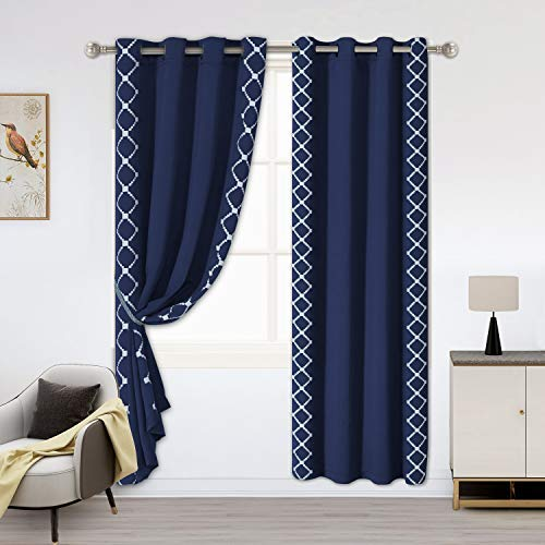 LORDTEX Embroidered Blackout Curtains for Bedroom - Insulated Thermal Curtains, Noise and Sun Light Blocking Grommet Window Drapes for Living Room, 52 x 63 Inch, Navy, Set of 2 Panels