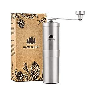 Groenenberg Molinillo de café manual | Manual Coffee Grinder en acero inoxidable | Molino café manual preciso de ajuste continuo | Empaque reciclable | Máquina molino café manual