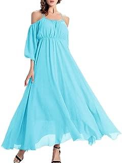 Afibi Women's Off-Shoulder Long Chiffon Casual Dress Maxi Evening Dress