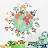 Colorido Animal World Map Wall Stickers para habitaciones de niños DIY Baby Nursery Bedroom Kids Room Wall Art Decoraciones para el hogar Tatuajes de pared 85 * 86.5cm