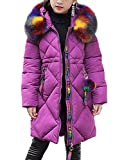 OCHENTA Little Big Girls' Down Alternative Winter Coats Padded Puffer Jacket with Faux Fur Trim Hood Middle Length Purple Tag 150-9-10 Years