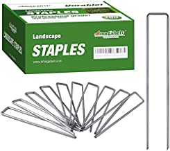 Amagabeli 6 Inch Galvanized Landscape Staples 200 Pack 11 Gauge Garden Stakes Heavy-Duty Sod Pins Anti-Rust Fence Stakes f...