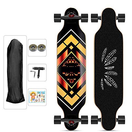 Longboard profesional de 9 capas con cubierta de arce Drop para patinar por la concavidad Ultrasport. Longboard completo para adultos, niños, principiantes, niñas, jóvenes