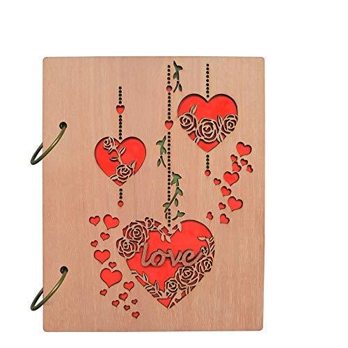 ZHAOXIANGXIANG Legno Giftgarden Cover Album per 4'X6'' Foto Album Fotografici Ricamati di Amore E di Cuore, Contiene 120 Foto