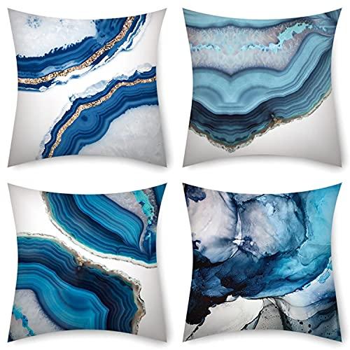 HONGEYO Fundas de cojín de 45 x 45 cm, paquete de 4 fundas de cojín de agua para exteriores, cojín geométrico azul para sofá banco, decoración del salón