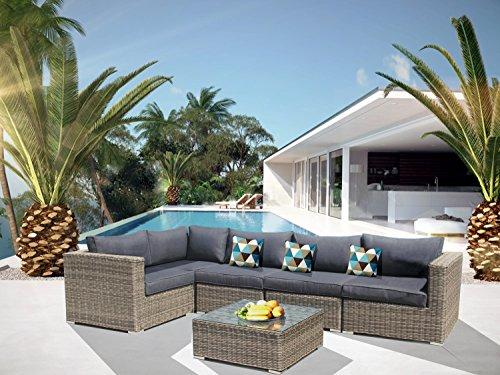 Luxurygarden Canapé d'angle en rotin avec méridienne Salon d'extérieur Piscine Andresa