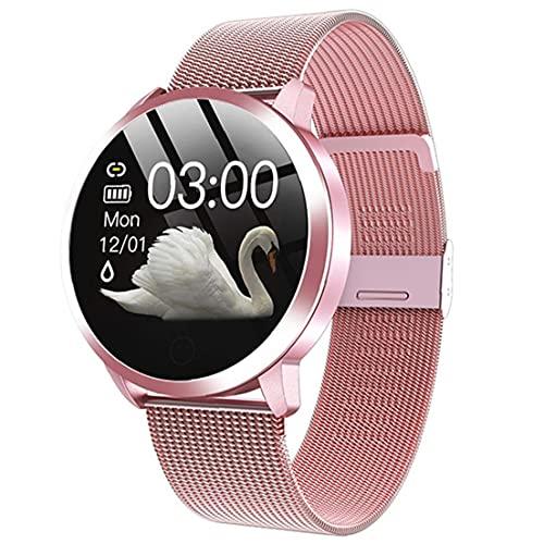 Trukorwuzi Relojes Inteligentes Q8 Pulsera Inteligente Impermeable con Correa de Metal Prueba de frecuencia cardíaca Paso Contador Ciclo Menstrual para Mujeres Rosa para niños Mujeres Hombres