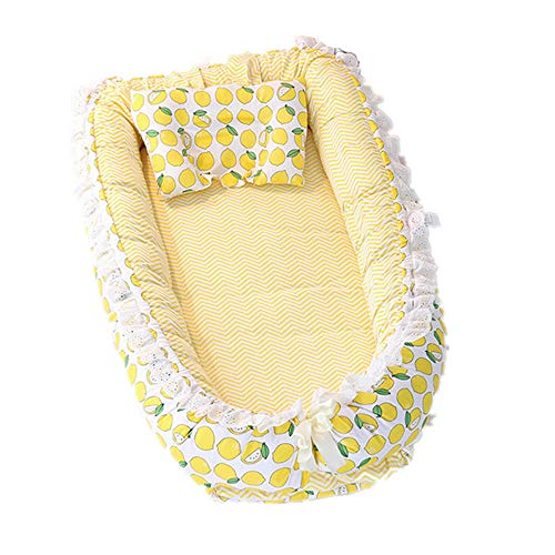 Abreeze Ruffled Baby Bassinet for Bed -Lemon Baby Lounger - Breathable & Hypoallergenic Co-Sleeping Baby Bed - 100% Cotton Portable Crib for Bedroom/Travel