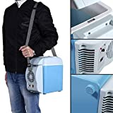 Mini Fridge for Car, 7.5L 12V Compact Cooler Warmer Portable Refrigerator with Shoulder Strap, for Bedroom, Office, Camping, Car, Truck Travel