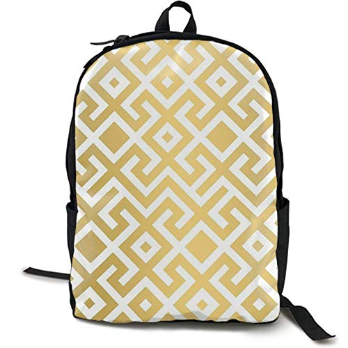 XCNGG Lightweight Durable Backpack Daypack for School Travel Hiking, Geometric Gold Bars Printed
