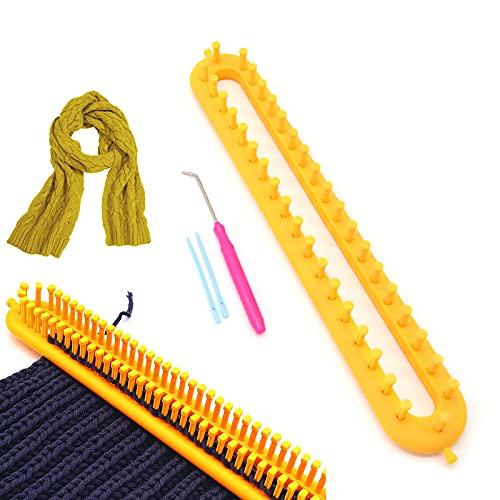 kiptyg Telares de Tejer, Telares para tejer bufandas, Telares Conjunto, con agujas de tejer y agujas de crochet, duraderas, adecuadas para tejer bufandas y sombreros (amarillo, 36cm, 1 juego)