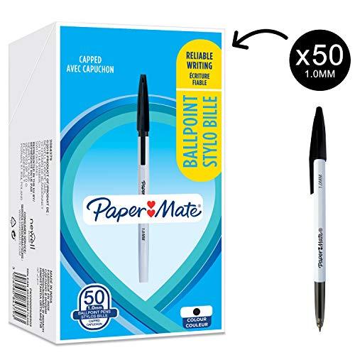 Paper Mate O45 Penne a Sfera, Punta Fine 1.0 mm, Inchiostro Nero, Nero, 50 Pezzi
