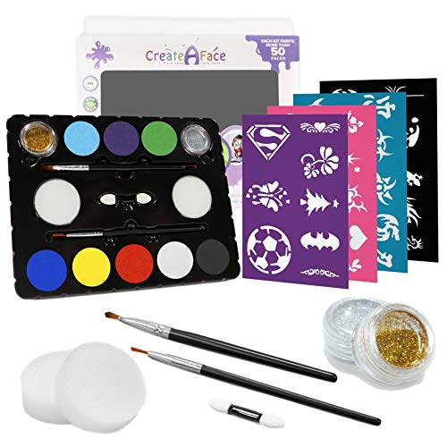 Face Paint Kit for Parties (Paints 50-80 Faces With No Experience) 8 Vivid Colors, Glitter, Brushes, 32 DIY Stencils & Ebook - Safe Makeup. Keeps the Kids Busy & Happy