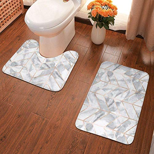 WHHBM0 two-piece bathroom non-slip mat, high-density soft microfiber non-slip bathroom mat, with absorbent, bathtub carpet and toilet seat cushion