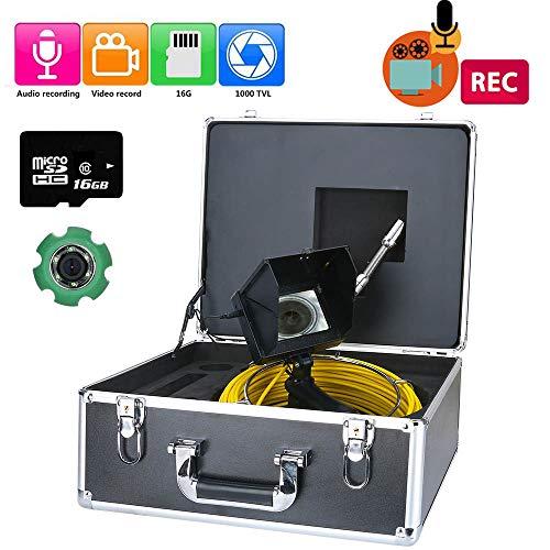 Telecamera per Ispezione di Condotte, Telecamera per Ispezione di Condutture Industriale Portatile da 50 M, Scheda TF da 16 GB DVR IP68 per Fognature, Videoregistratore CCD DVR 1000TVL,10M