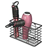 mDesign Farmhouse Metal Wire Bathroom Wall Mount Hair Care & Styling Tool Organizer Storage Basket for Hair Dryer, Flat Iron, Curling Wand, Hair Straightener, Brushes - Holds Hot Tools - Black
