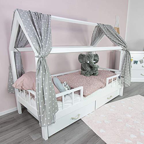 PuckDaddy Hausbett Vorhang Frida – 146 x 298 cm, 2er-Set Stoffhimmel aus 100% Baumwolle in Grau mit Sterne Muster, hochwertiger Bettvorhang fürs Kinderzimmer