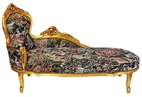 Casa Padrino Barock Chaiselongue Gobelin Muster/Gold - Möbel Lounge Liege Recamiere