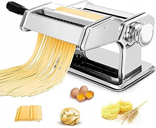 Nudelmaschine Pasta Maker Edelstahl Frische Manuell Pasta Walze Maschine Cutter mit Klemme für Spaghetti Nudeln Lasagne Bestes Pastamaschine Nudel Maschine Geschenk, Einfache Reinigung & Nutzung