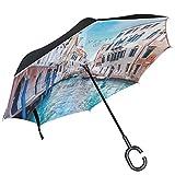 Alaza Italien Venedig Stadtbild Wasser seitenverkehrt Regenschirm Double Layer winddicht Rückseite Regenschirm