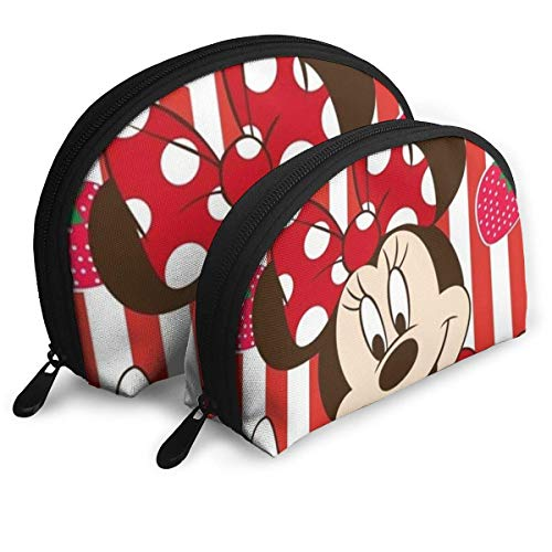 XCNGG Makeup Bag Minnie and Strawberry Cosmetic Pouch Clutch Portable Bags Handbag Organizer with Zipper 2Pcs