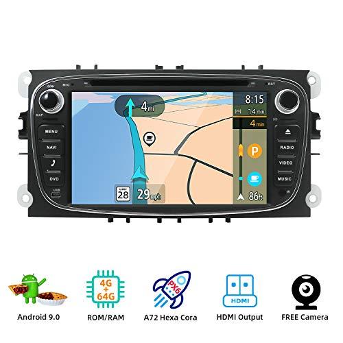 YUNTX Android 9.0 Autoradio Compatible con Ford Focus/Mondeo/Galaxy/Cmax - 4G+64G - GPS 2 DIN - Cámara Trasera Gratis - Soporte Dab+ / DVD/USB/SD / 4G / WiFi/Bluetooth/MirrorLink/Carplay