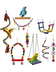 Gluckluz Bird Parrot Toy Hanging Bell Pet Cage Swing Toy Wooden Stand Perch Chewing Toy Bridge Ladder Spiral Rope for Parakeets Small Conures Love Birds Cockatiels Macaws Finches (Multi Color)