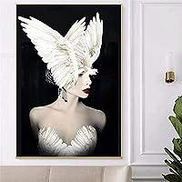 QDEI キャンバス絵画ファッション女性の装飾絵画印刷油壁写真ポスター現代の壁アート写真リビングルームインテリア家の装飾/ 60x90cmフレームなし