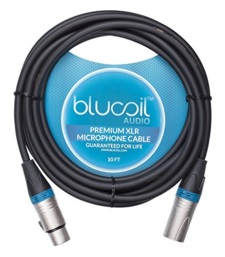 Blucoil Audio 10-FT Balanced XLR Cable with 24 AWG Copper Wire and PVC Jacket - 3-Pin Male to Female Microphone Cord for Audio Interfaces, Mixers, Preamps, and Recorders