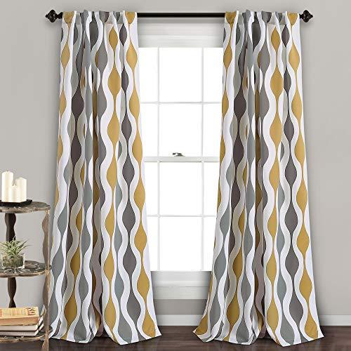 "Lush Decor Mid Century Geo Room Darkening Window Curtain Panel Pair, 108"" x 52"", Gold and Gray"