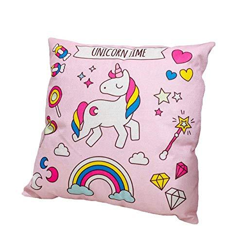 Rocita Unicorn - Funda de cojín con Estampado de Unicornios de Colores de algodón y Lino,...