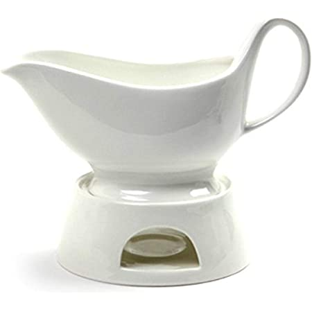 Norpro Porcelain Gravy Sauce Boat with Stand and Candle, 16oz, White