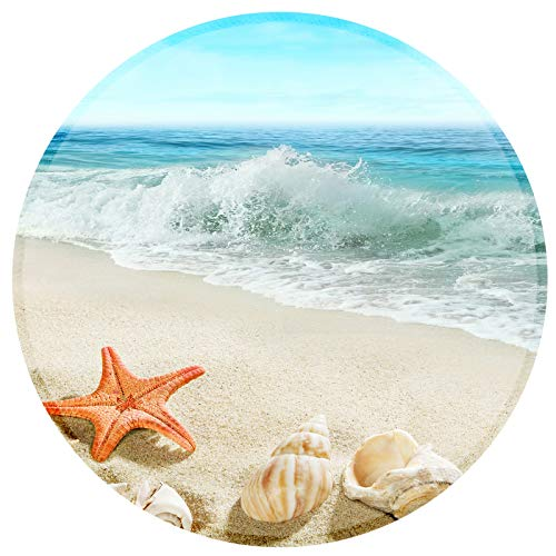 Mouse Pad Round Small Non-Slip Rubber Mouse Mat with Stitched Edges, Customized Mouse Pad for Women Girls Office Computer Laptop ( Beautiful Beach Starfish )