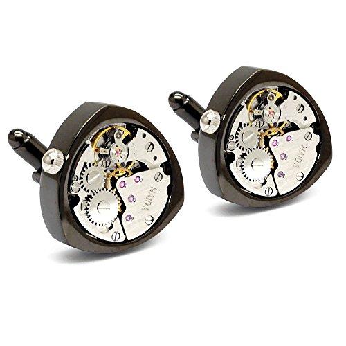 Honey Bear 1 Paar Herren Manschettenknöpfe Cufflinks Steampunk Uhrwerk Bewegung beweglich Edelstahl für Geschäftshochzeitsgeschenk mit Kasten,Dreieck (Schwarz)
