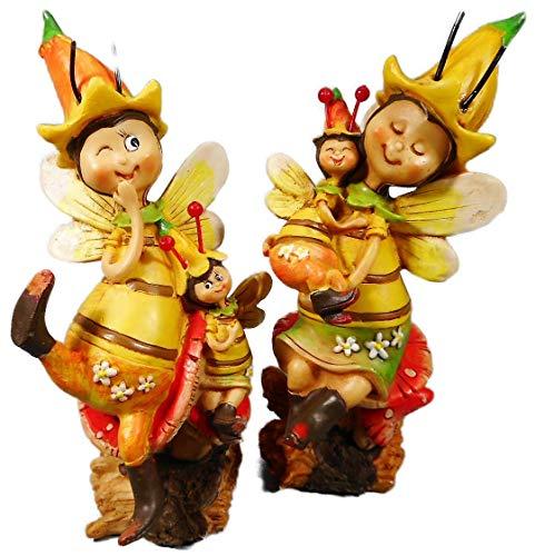 Dekofigur 2er Set Biene Familie je 14 x 6 cm Bienchen Wespe Honig Garten Figur Deko GCG 0520