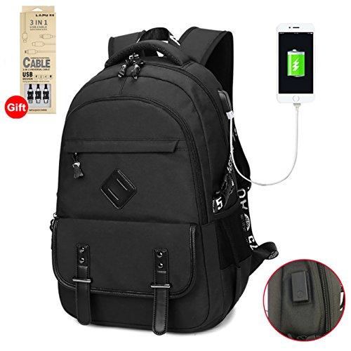 Waterproof Business Laptop Backpack with USB Charging Port, Lightweight Causal School Travel Backpack, Fits Under 17 inch Laptop and Notebook (Black)