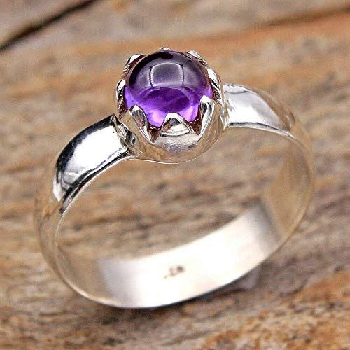 Amethyst 925 Sterling Silver Rings for Women, Purple Bridesmaid Rings, Round Gemstone Rings, Stackable Rings, prongs Set Handmade Rings