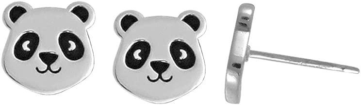 Boma Jewelry Sterling Silver Panda Bear Stud Earrings