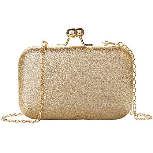 Clutch Glitzer Gold 5,1 inch, Wafly Leder Kette Tasche Handtasche Mädchen Taschen Abendtasche Damen Crossbody Tasche Umhängetasche Geldbörsen für Valentinstag Party Hochzeit, Telefon