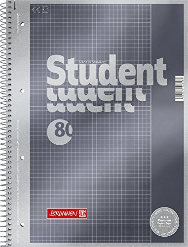 Brunnen 1067126 Notizblock / Collegeblock Student Premium (Veredeltes DeckBlatt mit Metallic-Effekt, A4, kariert Lineatur 26, 90 g/m², 80 Blatt)