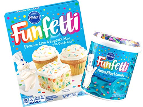 Pillsbury Funfetti Premium Cake & Cupcake Mix with Frosting Bundle (Aqua Blue Vanilla)
