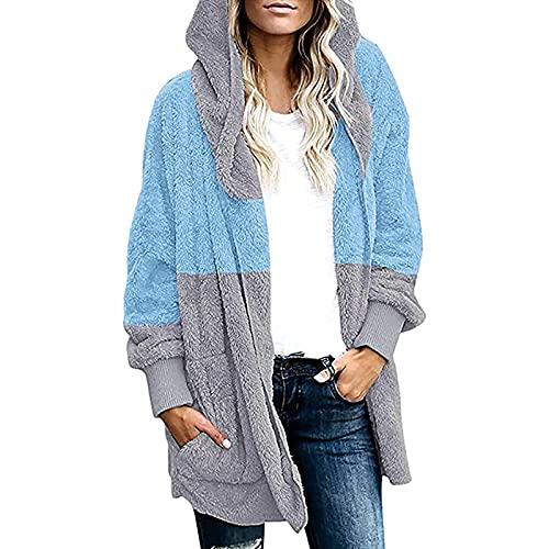 Hailmkont Chaqueta de forro polar para mujer, de gran tamaño, de felpa, cálida, de manga larga, de invierno, azul, M