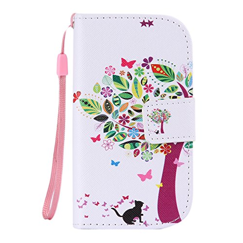ISAKEN Kompatibel mit Galaxy S3 Mini Hülle, PU Leder Geldbörse Wallet Hülle Ledertasche Handyhülle Tasche Hülle Schutzhülle mit Handschlaufe Standfunktion für Samsung Galaxy S3 Mini - Katze Baum