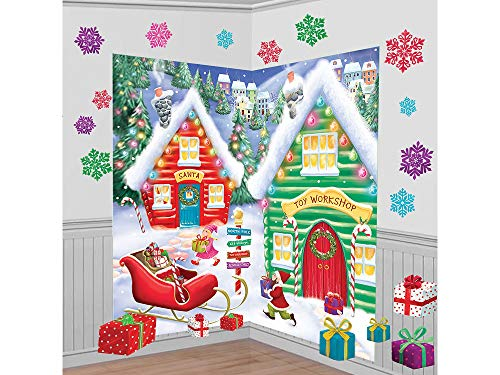 Amscan 670232 North Pole Wall Scene Setters Kit, 32 Ct. | Christmas Decoration 65