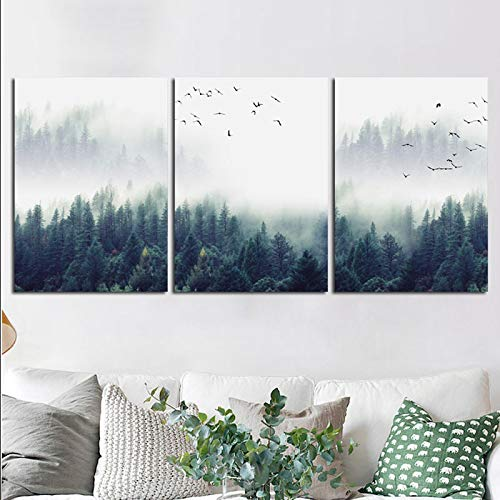 Cartel de lienzo de paisaje de bosque y pájaro inmóvil e i