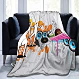 Ultra-Soft Micro Fleece Soft and Warm Throw Blanket,Music People with Turntable and Speakers