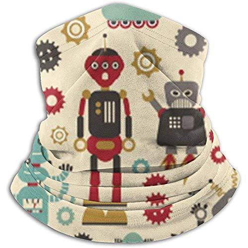 air kong Calentador de Cuello de vellón - Robots Retro en Tubo de Polaina de Cuello Crema, pañuelo, máscara, Diadema y Gorro