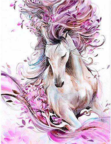 Cuadro de diamantes 5D para decoración de pared del hogar, pintura de diamantes de imitación, pintura de estrás, decoración de pared, cuadro de pared (30 x 40 cm), diseño de caballo rosa