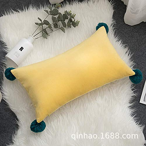 Simple velvet rectangular pillowcase cushion cover office waist bed pillow@60# smog blue_30*50cm